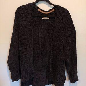 Urban Outfitters Navy Velvet Knit Cardigan